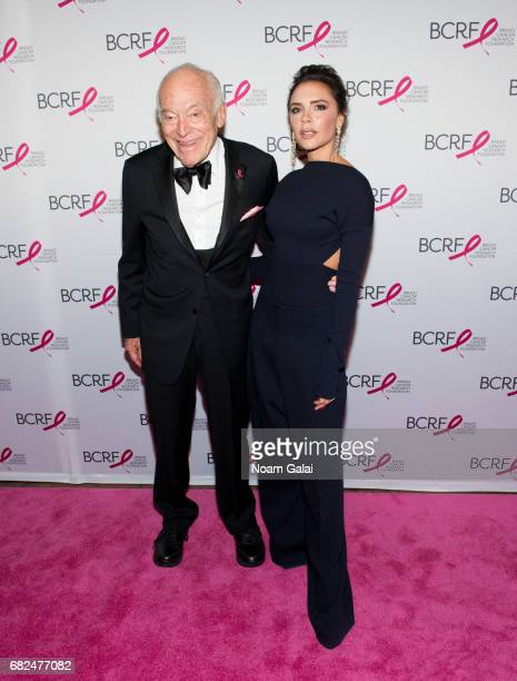 Leonard Lauder and Victoria Beckham attend the 2017 Breast Cancer Research Foundation Hot Pink Party at Park Avenue Armory on May 12 2017 in New York...