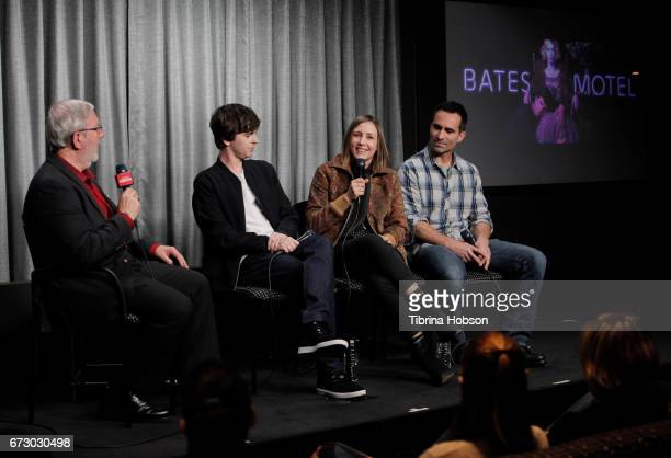 Leonard Maltin Freddie Highmore Vera Farmiga and Nestor Carbonell attend the SAGAFTRA Foundation Conversations and QA for 'Bates Motel' at SAGAFTRA...