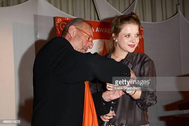 Leonard Mueller and Jella Haase attends Askania Award 2014 at Kempinski Hotel Bristol on February 4 2014 in Berlin Germany