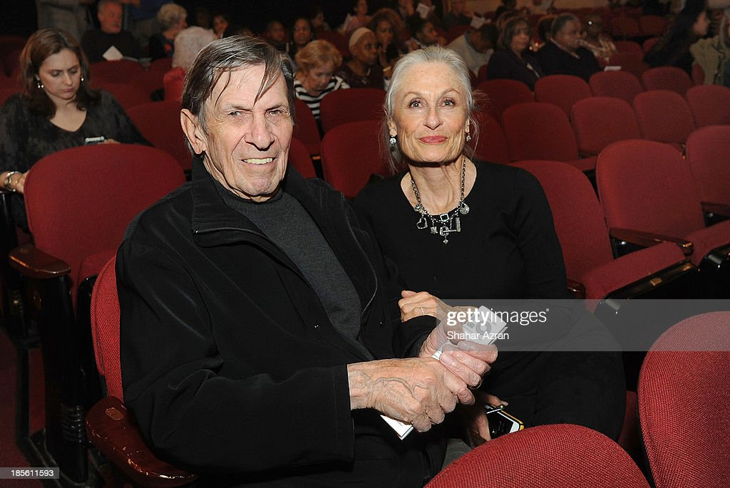 <a gi-track='captionPersonalityLinkClicked' href=/galleries/search?phrase=Leonard+Nimoy&family=editorial&specificpeople=216431 ng-click='$event.stopPropagation()'>Leonard Nimoy</a> and his wife Susan Nimoy attend the opening night of 'James Brown: Get On The Good Foot - A Celebration in Dance' at The Apollo Theater on October 22, 2013 in New York City.