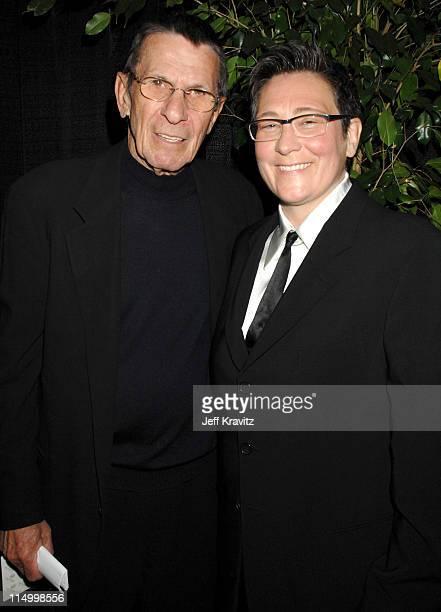Leonard Nimoy and kd lang during 5th Annual TV Land Awards Backstage at Barker Hangar in Santa Monica California United States