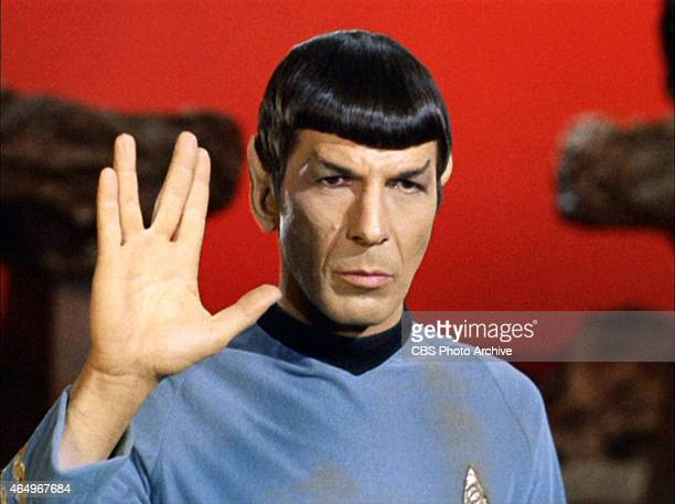 Leonard Nimoy as Mr Spock in 'Star Trek The Original Series' episode 'Amok Time' Spock shows the Vulcan salute usually accompanied with the words...