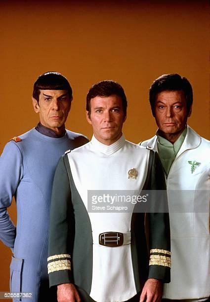 Leonard Nimoy as Mr Spock William Shatner as Admiral James T Kirk and Deforest Kelley as Dr Leonard 'Bones' McCoy in the 1979 film Star Trek The...
