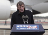 Leonard Nimoy who played the character of Commander Spock on Star Trek speaks during a ceremony at John F Kennedy International Airport for the Space...