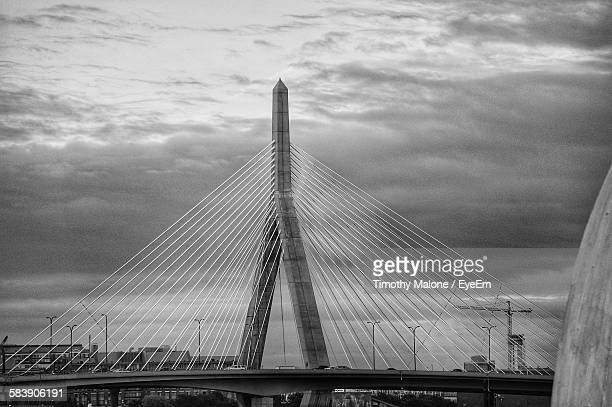 Leonard P Zakim Bunker Hill Bridge Against Sky At Dusk