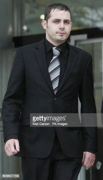 Leonard Watters leaves Dublin District Court after he admitted falsely accusing X Factor judge Louis Walsh of groping him in a nightclub