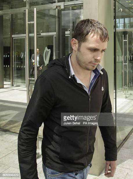 Leonard Watters leaves Dublin District Court after he was charged with falsely accusing XFactor judge Louis Walsh of groping him in a nightclub
