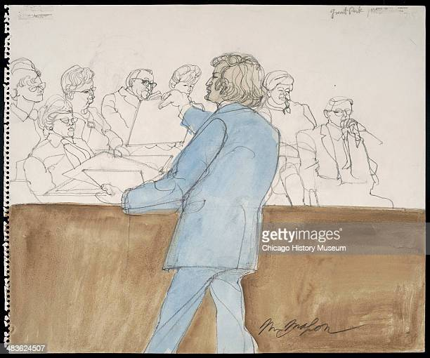 Leonard Weinglass showing stack of pictures to jury in a courtroom illustration during the trial of the Chicago Eight Chicago Illinois late 1969 or...
