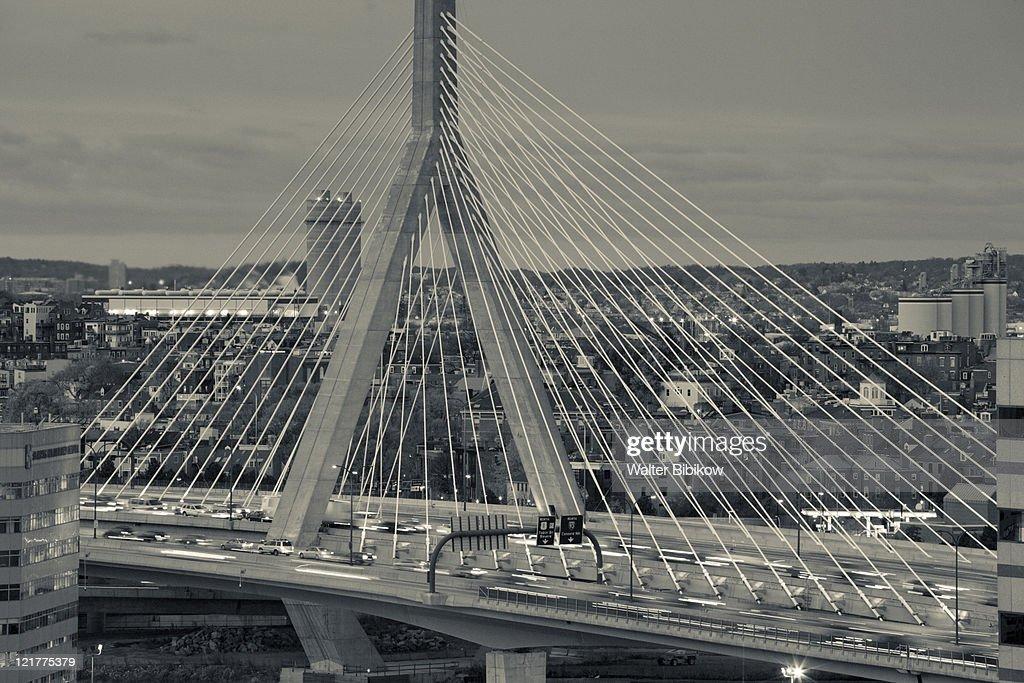 Leonard Zakim Bridge and Rt. 93 at dusk, Boston, Massachusetts, USA
