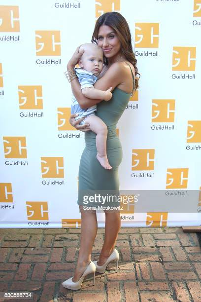 Leonardo Angel Baldwin and Hilaria Baldwin attend the Guild Hall Summer Gala 2017 at Guild Hall and private residence on August 11 2017 in East...