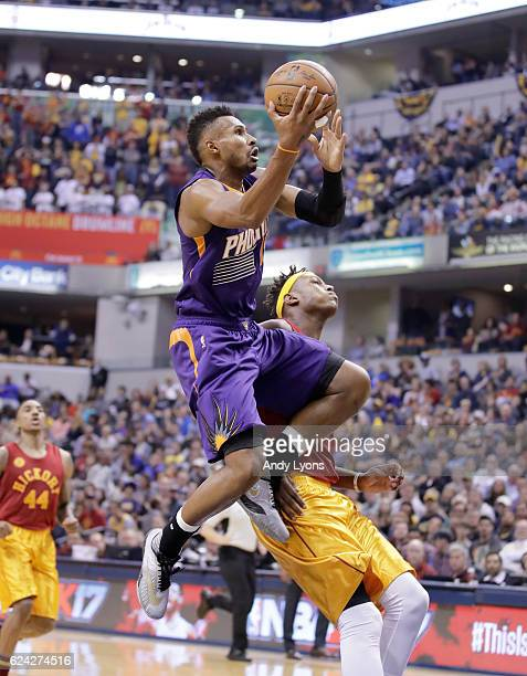 Leonardo Barbosa of the Phoenix Suns shoots the ball during the game against the Indiana Pacers at Bankers Life Fieldhouse on November 18 2016 in...