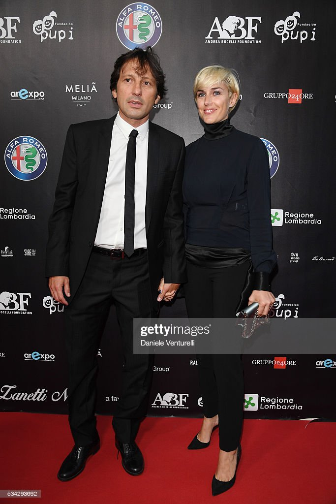 Leonardo Billo and Anna Billo walk the red carpet of Bocelli and Zanetti Night on May 25, 2016 in Rho, Italy.