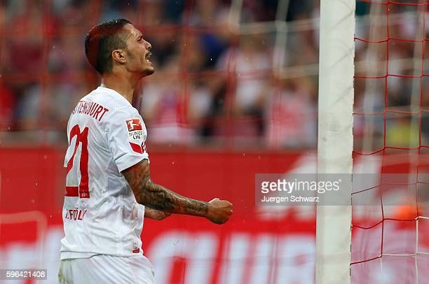 Leonardo Bittencourt of Cologne reacts after missing to score during the Bundesliga match between 1 FC Koeln and SV Darmstadt 98 at...