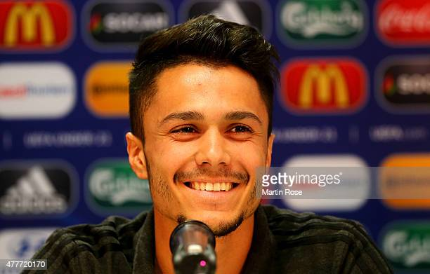Leonardo Bittencourt of Germany attends the UEFA U21 press conference ahead of the EURO 2015 Group A match against Denmark at Eden stadium on June 19...