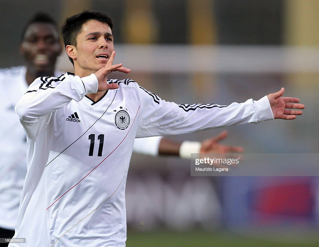 Leonardo Bittencourt of Germany celebrates after scoring his team's opening goal during U20 International Friendly match between Italy and Germany at Stadio Cosimo Puttilli on February 6, 2013 in Barletta, Italy.
