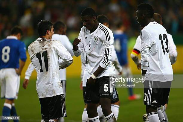 Leonardo Bittencourt of Germany celebrates the forth goal with Anotnio Ruediger and Danny Vieira da Costa during the Under 20 International Friendly...