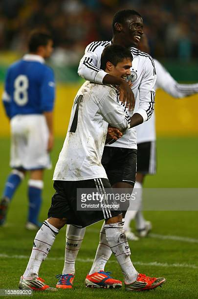 Leonardo Bittencourt of Germany celebrates the forth goal with Anotnio Ruediger during the Under 20 International Friendly match between Germany and...