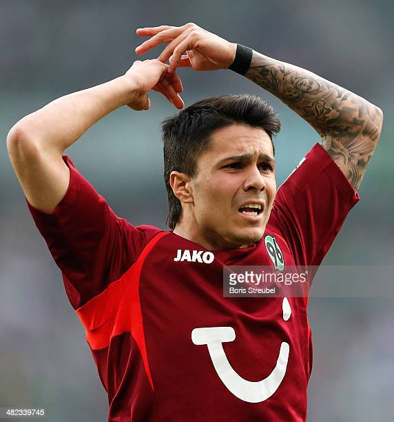 Leonardo Bittencourt of Hannover gestures during the Bundesliga match between Hannover 96 and Werder Bremen at HDIArena on March 23 2014 in Hanover...