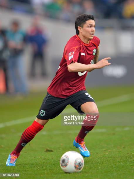Leonardo Bittencourt of Hannover in action during the Bundesliga match between Hannover 96 and Werder Bremen at HDIArena on March 23 2014 in Hanover...
