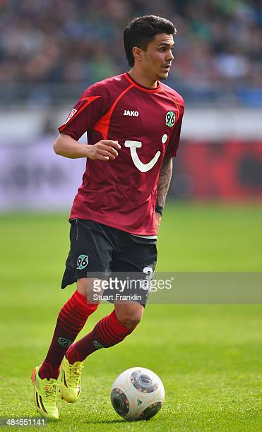 Leonardo Bittencourt of Hannover in action during the Bundesliga match between Hannover 96 and Hamburger SV at HDIArena on April 12 2014 in Hanover...