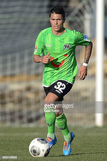 Leonardo Bittencourt of Hannover plays the ball during the last day of Hannover 96 training camp on January 17 2014 in Belek Turkey
