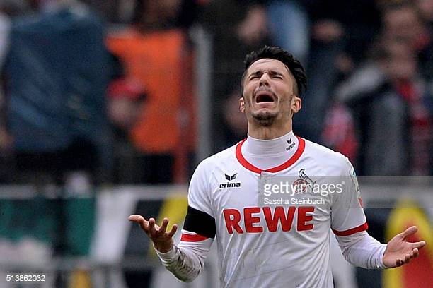 Leonardo Bittencourt of Koeln celebrates after scoring his team's first goal during the Bundesliga match between 1 FC Koeln and FC Schalke 04 at...