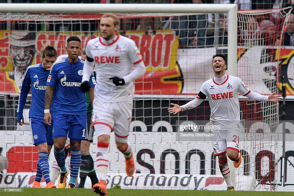 Leonardo Bittencourt (R) of Koeln celebrates after scoring his team's first goal during the Bundesliga match between 1. FC Koeln and FC Schalke 04 at RheinEnergieStadion on March 5, 2016 in Cologne, Germany.