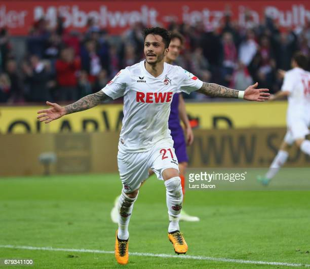 Leonardo Bittencourt of Koeln celebrates scoring his goal during the Bundesliga match between 1 FC Koeln and Werder Bremen at RheinEnergieStadion on...