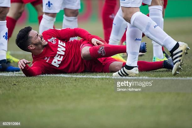 Leonardo Bittencourt of Koeln is injured during the Bundesliga match between SV Darmstadt 98 and 1 FC Koeln at JonathanHeimesStadion am...