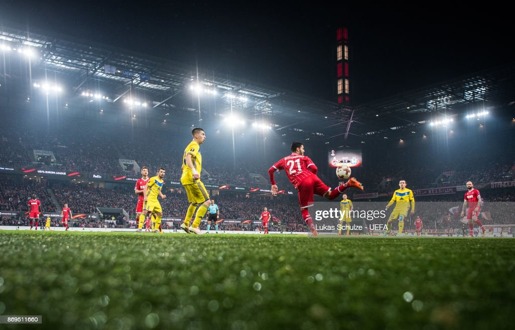 Leonardo Bittencourt of Koeln (R) kicks the ball during the UEFA Europa League group H match between 1. FC Koeln and BATE Borisov at RheinEnergieStadion on November 2, 2017 in Cologne, Germany.