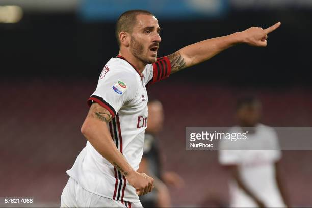 Leonardo Bonucci AC Milan during the Serie A TIM match between SSC Napoli and AC Milan at Stadio San Paolo Naples Italy on 18 November 2017