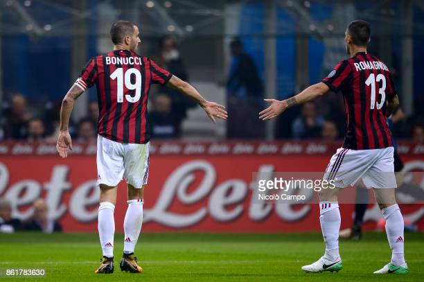 Leonardo Bonucci and Alessio Romagnoli of AC Milan gesture during the Serie A football match between FC Internazionale and AC Milan FC Internazionale...