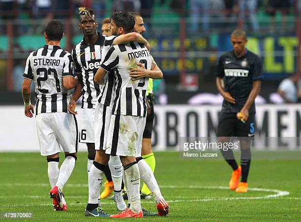 Leonardo Bonucci and Alvaro Morata of Juventus FC celebrate a victory at the end of the Serie A match between FC Internazionale Milano and Juventus...