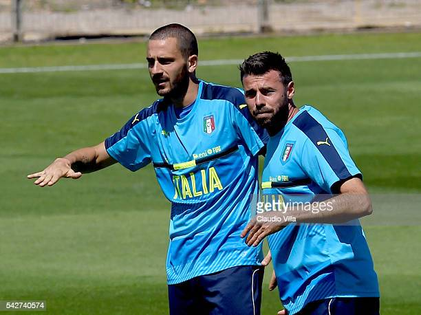Leonardo Bonucci and Andrea Barzagli of Italy react during the training session at 'Bernard Gasset' Training Center on June 24 2016 in Montpellier...