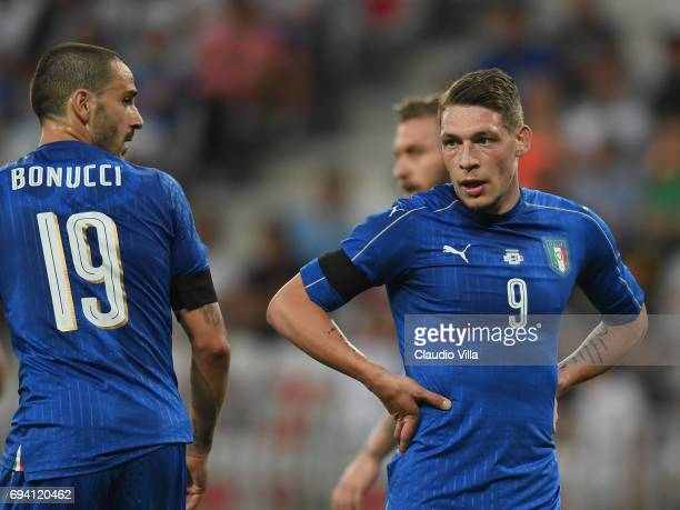 Leonardo Bonucci and Andrea Belotti of Italy look on during the International Friendly match between Italy and Uruguay at Allianz Riviera Stadium on...