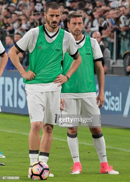 Leonardo Bonucci and Claudio Marchisio during Serie A match between Juventus v Genoa in Turin on april 23 2017