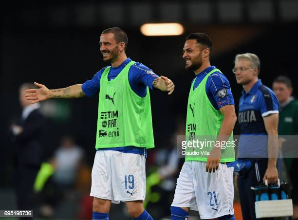 Leonardo Bonucci and Danilo D'Ambrosio of Italy celebrate during the FIFA 2018 World Cup Qualifier between Italy and Liechtenstein at Stadio Friuli...