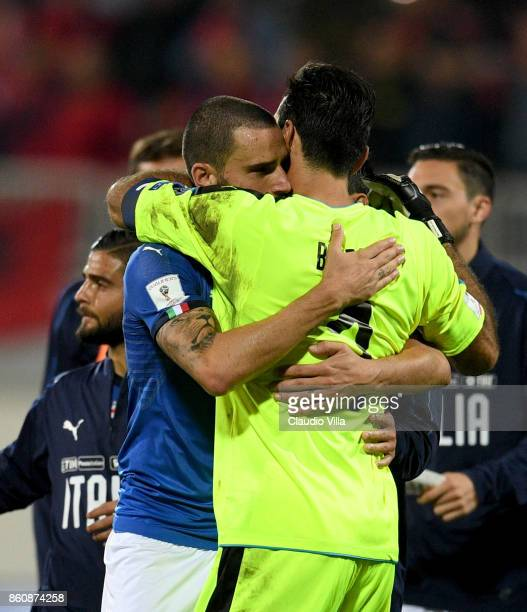 Leonardo Bonucci and Gianluigi Buffon and of Italy celebrate at the end of the FIFA 2018 World Cup Qualifier between Albania and Italy at Loro Borici...