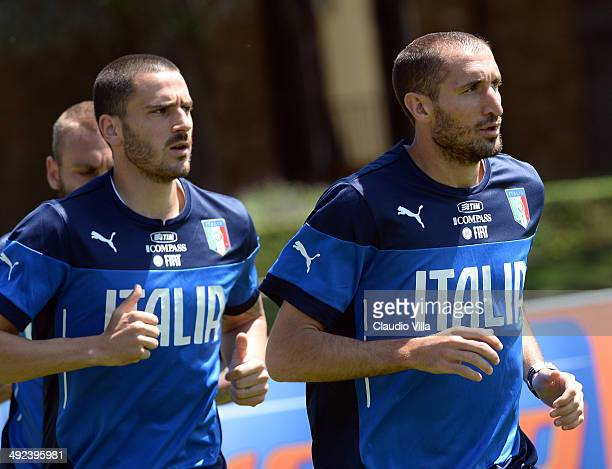 Leonardo Bonucci and Giorgio Chiellini of Italy during a training session at Coverciano on May 20 2014 in Florence Italy