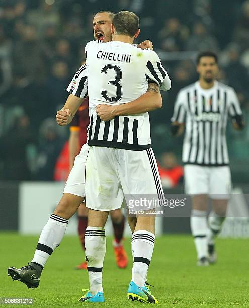 Leonardo Bonucci and Giorgio Chiellini of Juventus FC celebrate a victory at the end of the Serie A match between Juventus FC and AS Roma at Juventus...