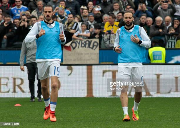 Leonardo Bonucci and Gonzalo Higuain during Serie A match between Udinese v Juventus in Udine on March 25 2017