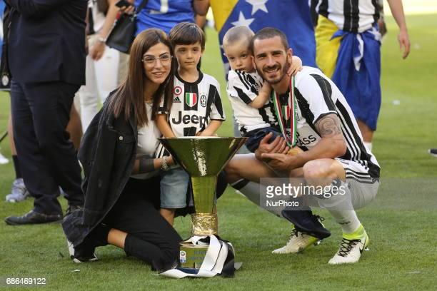 Leonardo Bonucci and her family celebrate the victory of the Italian championship 2016/17 after the Serie A football match between Juventus FC and FC...