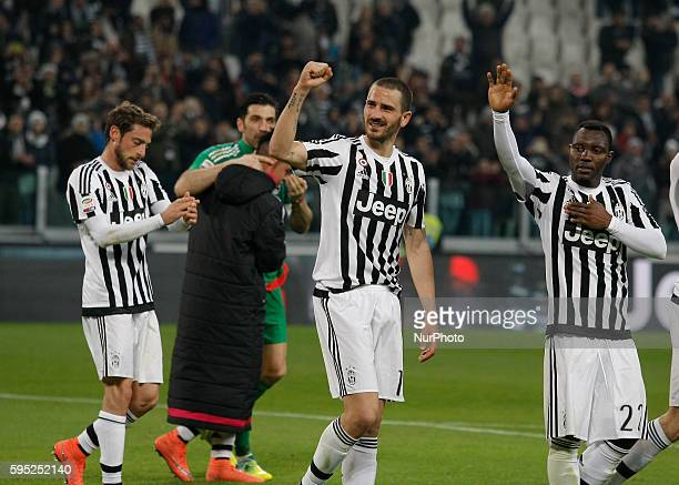 Leonardo Bonucci and Kwadwo Asamoah at the end of the serie A match between Juventus FC and US Sassuolo Calcio at the Juventus Stadium of Turin on...