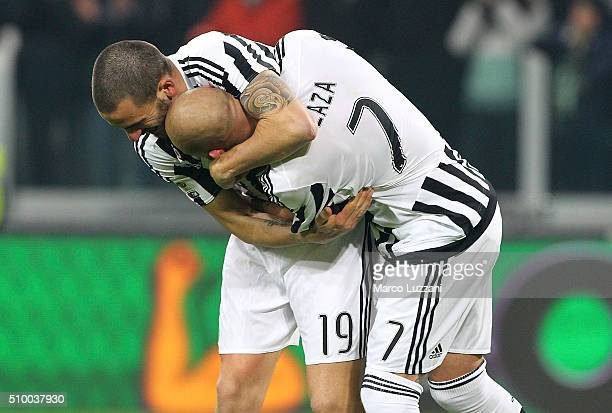 Leonardo Bonucci and Simone Zaza of Juventus FC celebrate a victory at the end of the Serie A match between and Juventus FC and SSC Napoli at...