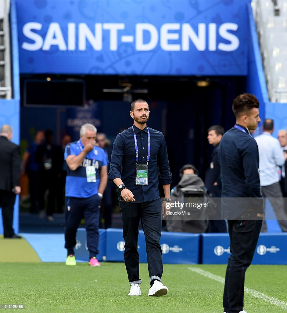 Leonardo Bonucci attends a pitch walkabout at Stade de France on June 26, 2016 in Paris, France.