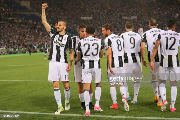 Leonardo Bonucci celebrates after scoring during the Italian Cup final between Juventus FC and SS Lazio at Olympic Stadium on may 17 2017 in Rome...