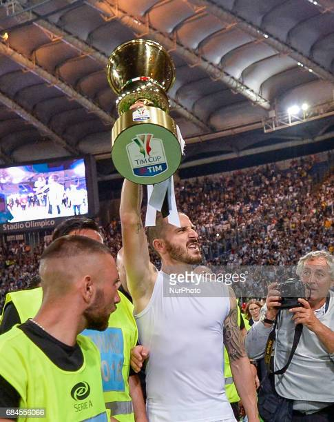 Leonardo Bonucci celebrates after winning the TIM Cup Final match against SS Lazio during the Tim Cup football match FC Juventus vs SS Lazio at the...