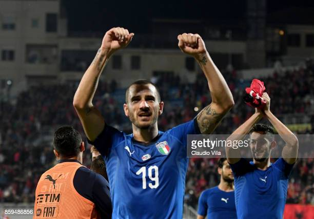 Leonardo Bonucci celebrates his teams win after the FIFA 2018 World Cup Qualifier between Albania and Italy at Loro Borici Stadium on October 9 2017...
