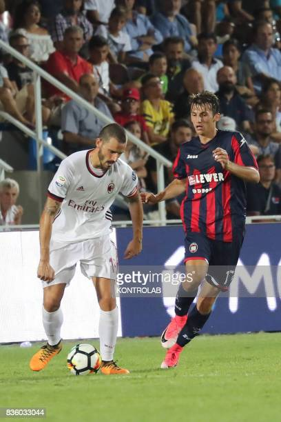 Leonardo Bonucci defender Milan and Ante Budimir Crotone striker during the Serie A match between FC Crotone v AC Milan Milan won 30