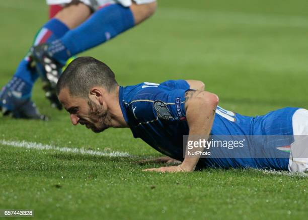 Leonardo Bonucci during the match to qualify for the Football World Cup 2018 between Italia v Albania in Palermo on March 24 2017